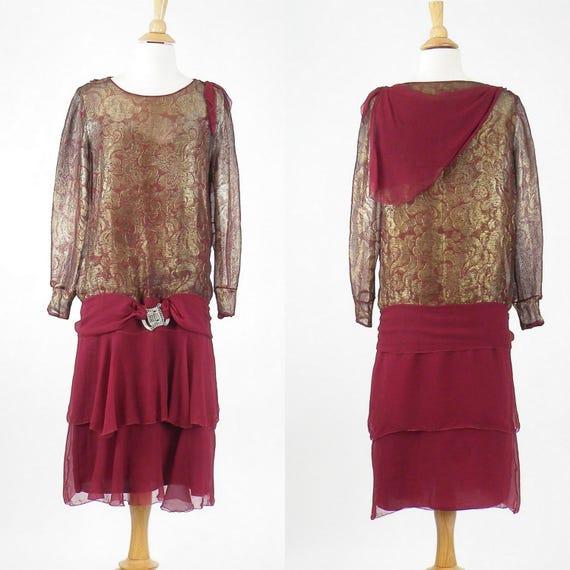 1920s Metallic Lamé Flapper Dress, Art Deco Vintage 20s Dress, Burgundy Red Silk Chiffon and Gold Lamé Dress with Clasp Belt