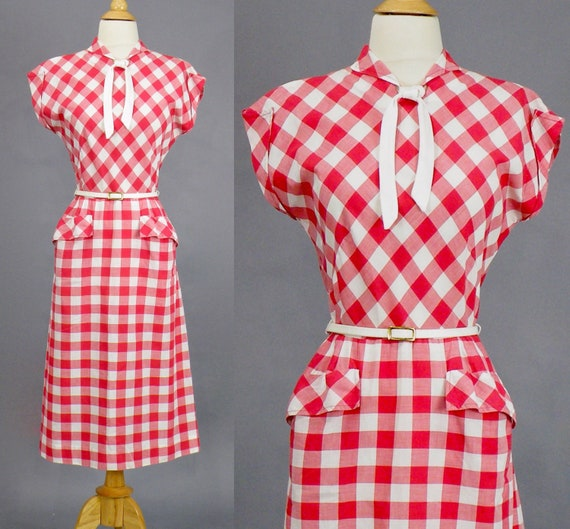 Vintage 1940s Dress, 40s Red White Cotton Checkered Dress with Pussycat Bow