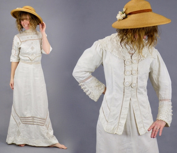 1900s Edwardian Embroidered Cutwork Linen Dress &