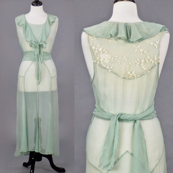 Vintage 1930s Lace Trim Seafoam Green Chiffon Bias Cut Dress, Medium