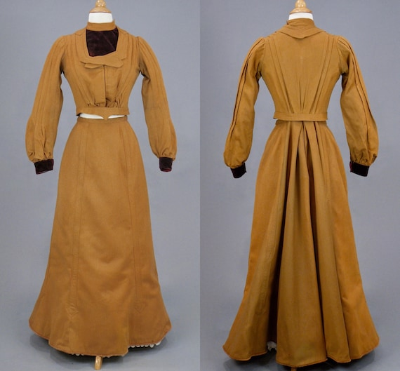 Antique Victorian Edwardian 1900s Turn of the Century Wool Walking Suit Equestrian Riding Suit, XS