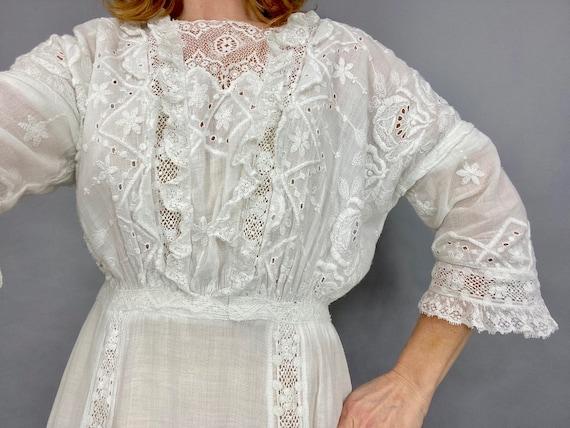 Antique Edwardian White Dress, 1910s Lingerie Dre… - image 2