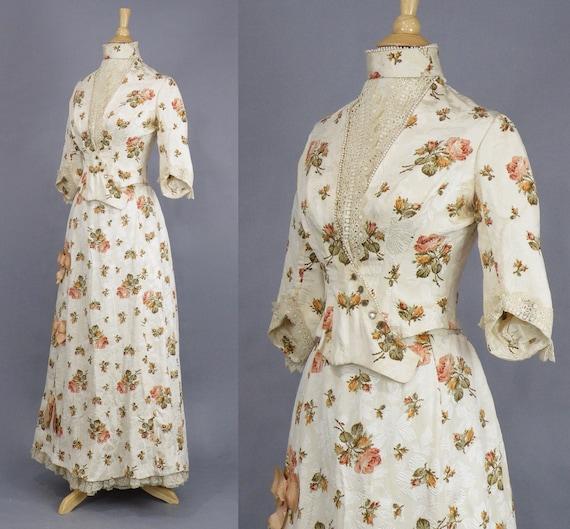 Rare Antique Victorian Floral Jacquard Duchesse S… - image 4