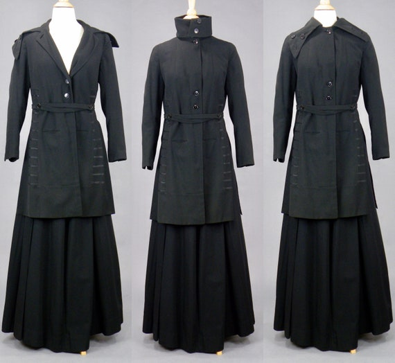 Edwardian Walking Suit, Antique 1910s Black Wool S