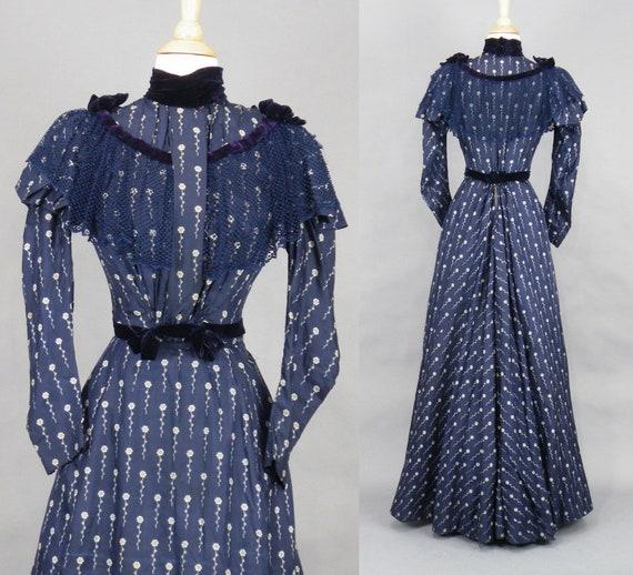 1890s Victorian Dress, 19th Century Antique Indigo Blue Floral Print Silk Dress, XXS Exceptional Museum Quality Historical Dress