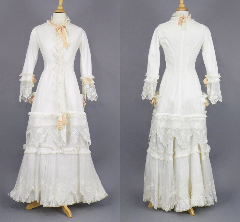 Antique 1880s Victorian White Summer Dress White Cotton and image 0