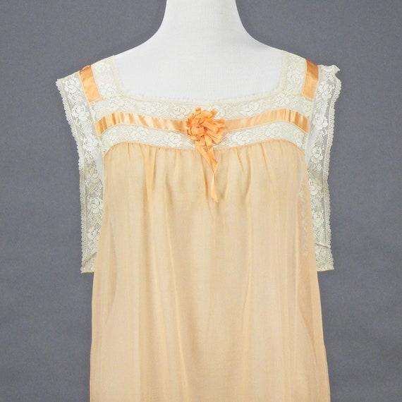 1910s 1920s Nightgown, XL Antique Peach Cotton Fi… - image 7