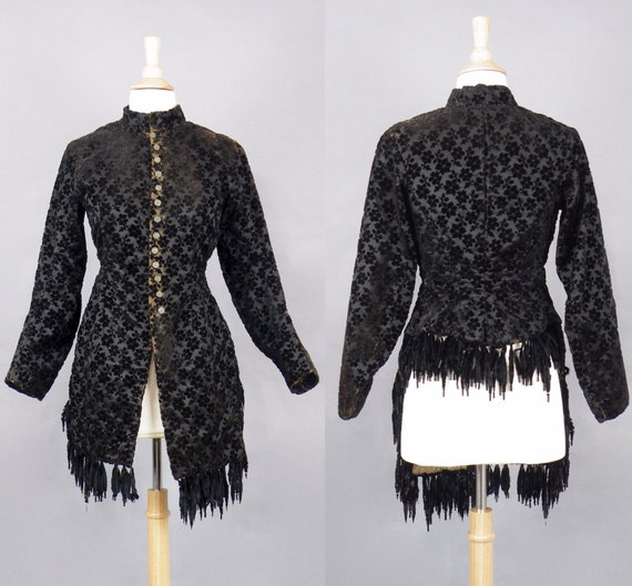 1880s Victorian Black Cut Velvet Mantle Jacket with Silk Chenille Fringe, Gothic 19th Century Antique Steampunk Jacket, Small