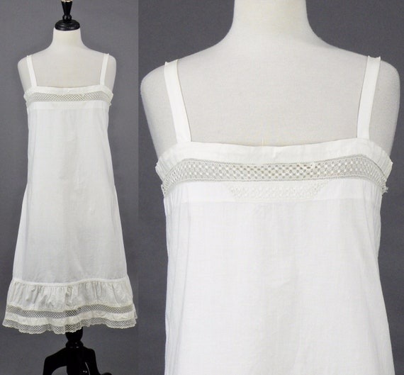 Edwardian 1910s White Cotton Chemise Dress, Antique Slip Dress with Adjustable Tie Bust