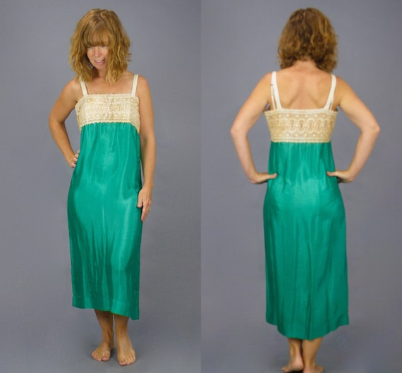 Vintage 1920s Green Silk Lace Flapper Slip Dress, XS - S