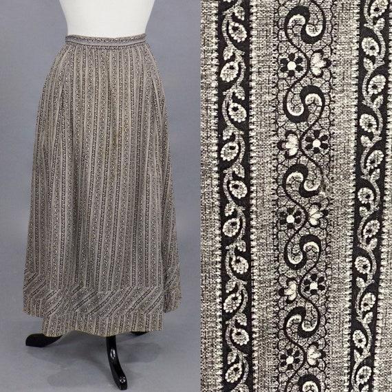 "Antique Calico Skirt, 1900s Workwear Skirt, Primitive Cotton Calico Chore Skirt, 29"" Waist"
