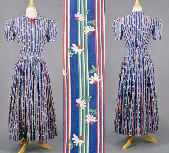 Vintage 1930's Blue Red Green Striped Cotton Floral Daisy Print Day Dress, Small