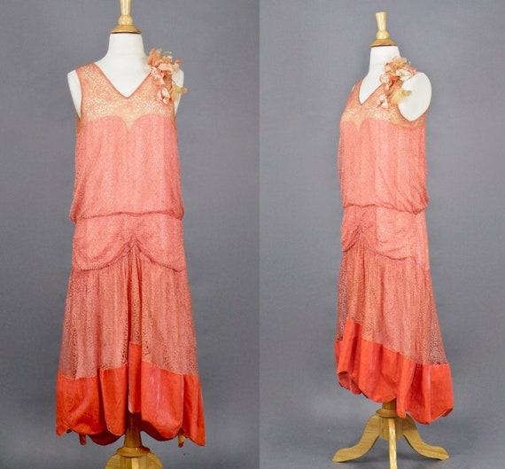 Vintage 1920s Dress, 20s Dress, Coral Pink Lace and Velvet Flapper Dress with Flower Corsage