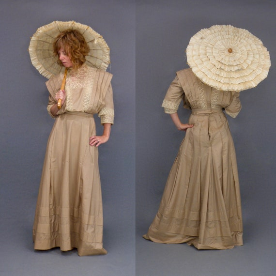 Antique 1900s Taupe Silk Mixed Lace Edwardian Gibson Girl Dress Set Blouse and Skirt, XS
