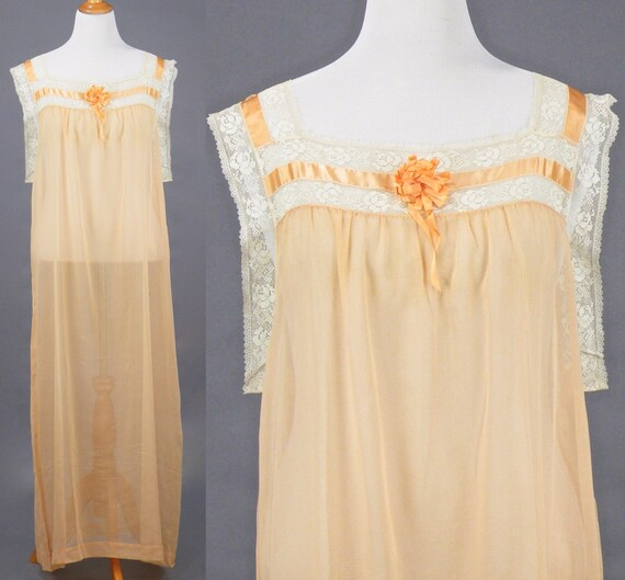 1910s 1920s Nightgown, XL Antique Peach Cotton Fil