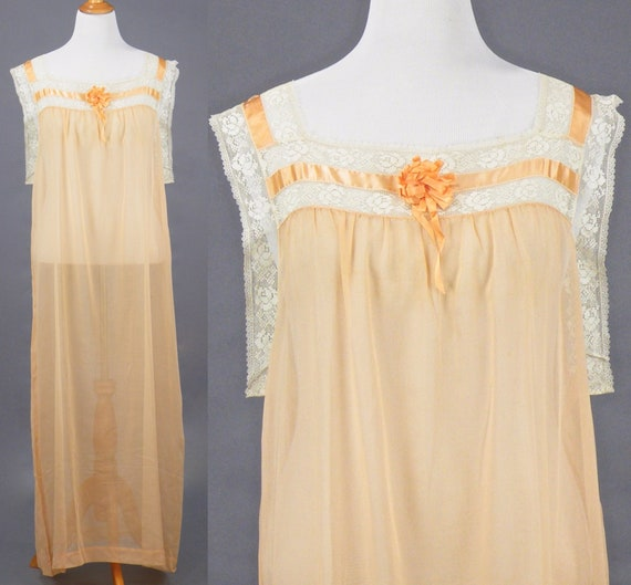 1910s 1920s Nightgown, XL Antique Peach Cotton Filet Lace Nightgown with Silk Ribbons