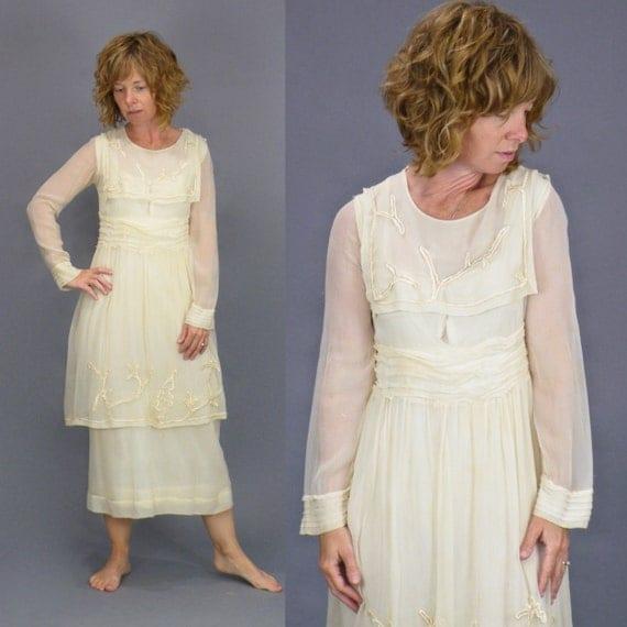 Edwardian 1910s Tiered Chiffon Dress, Antique Embroidered Silk Sailor Collar Dress, XS