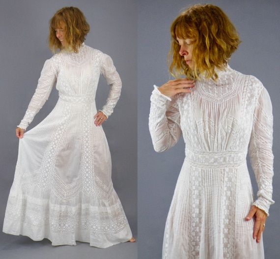 Antique 1900s Embroidered White Cotton Valenciennes Lace Edwardian Tea Dress,