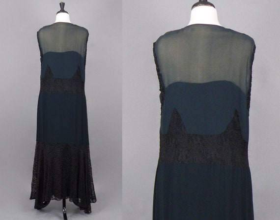 1930s Dress, Vintage 30s Black Silk Chiffon and L… - image 4