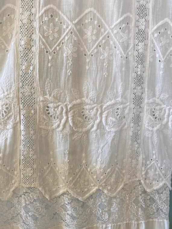 Antique Edwardian White Dress, 1910s Lingerie Dre… - image 3