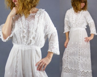 Antique Edwardian White Dress, 1910s Lingerie Dress, Vintage Whitework Tea Dress, Small