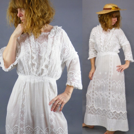 Antique 1910s Edwardian White Lingerie Dress, Whitework Tea Dress, Small
