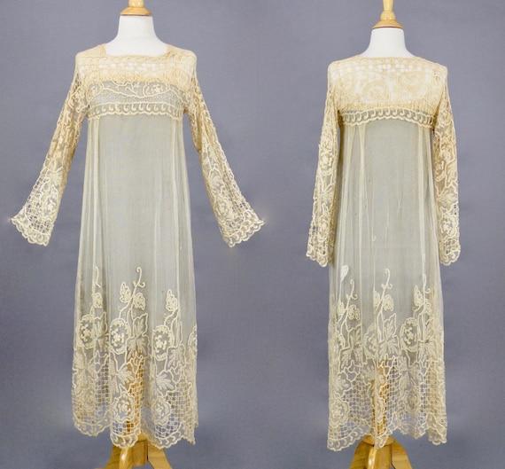 Antique 1910s 1920s Dress, Art Nouveau Filet Lace Dress, Bohemian Flapper Dress