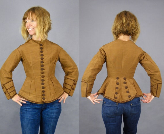 Victorian Jacket, Antique 1800s Women's Silk Jacket, Tailored Fit and Flare Jacket with Buttons Galore