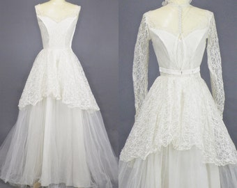 Vintage 1950s Emma Domb Wedding Dress, 50s Wedding Gown, White Lace and Tulle Sweetheart Wedding Gown with Bolero Jacket and Train