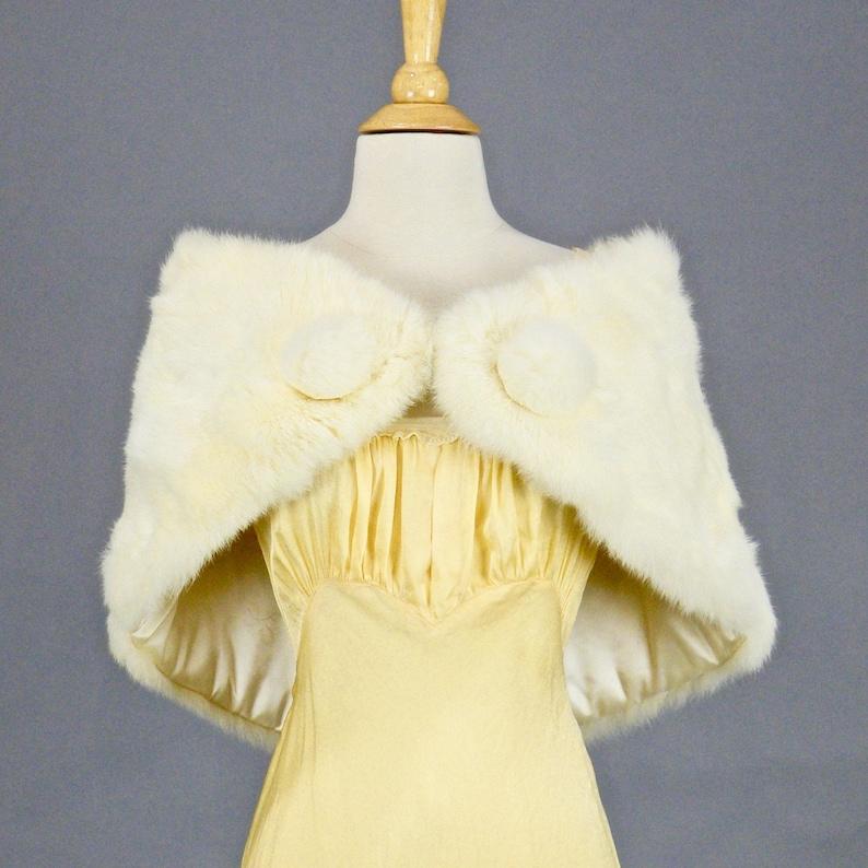 Vintage White Rabbit Fur Wrap Fur Bridal Stole Shawl with image 0