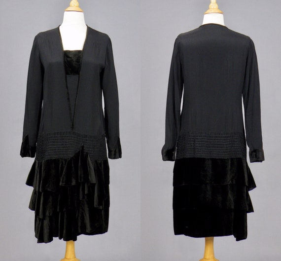 Vintage 1920s Black Rayon Flapper Dress with Tiered Velvet Skirt, Excellent