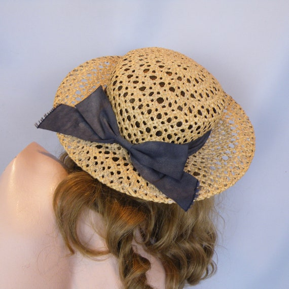 Antique Vintage Straw Boater Hat, Ribbon Trimmed Wide Brim Open Weave Straw Summer Hat