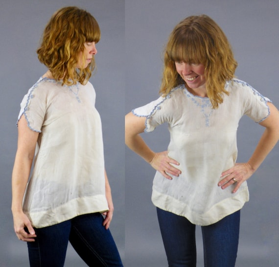 Antique Late 1910s 1920s Embroidered Peasant Blouse with Shoulder Button Snaps, XS