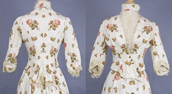 Rare Antique Victorian Floral Jacquard Duchesse S… - image 2