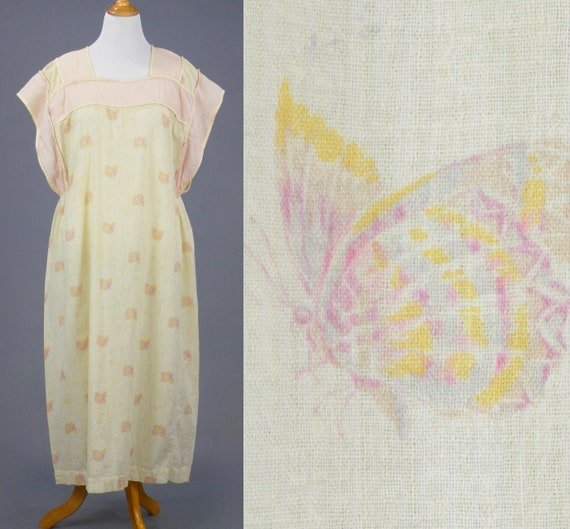 Vintage 1920s Dress, 20s Cotton Farm Dress, 1920s