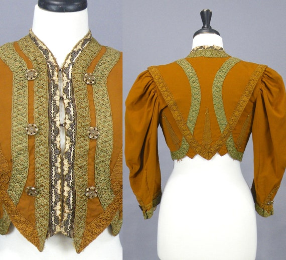 Edwardian Jacket, Antique 1900s Jacket, Copper Soutache Lace Embroidered Cropped Edwardian Jacket, S/M