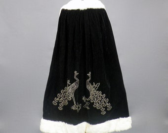 Vintage 1920s Peacock Beaded Velvet Opera Cape with Rabbit Fur Trim, 20s Flapper Cape