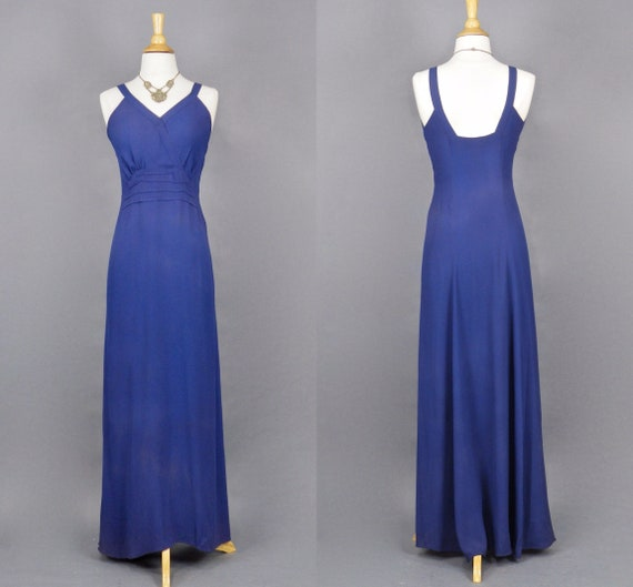 Vintage 1930s FOGA Dress, 30s Bias Cut Evening Dress, Dark Periwinkle Satin Back Crepe Gown with Plunging Back