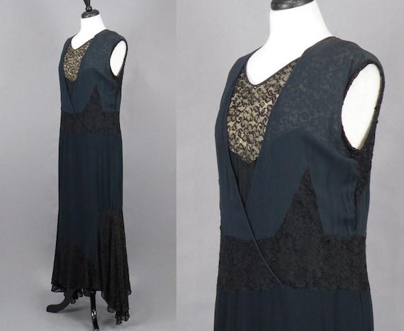 1930s Dress, Vintage 30s Black Silk Chiffon and L… - image 2
