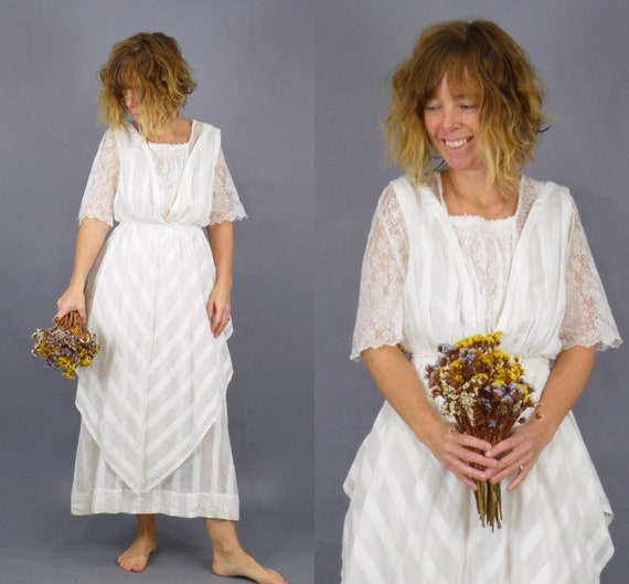 Edwardian Tea Dress, Antique 1900s Striped White Cotton Lace Dress, Bohemian Summer Wedding Dress