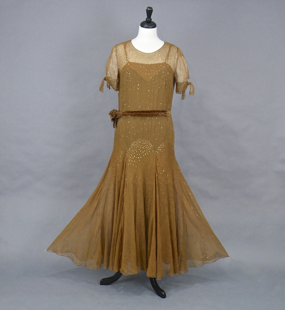 1920s Sequin Dress, Antique 20s Dress, Art Deco Br