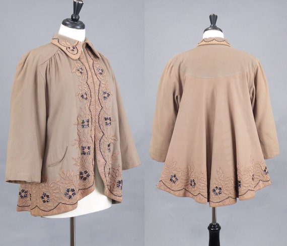 Vintage 1940s Beaded Soutache Wool Swing Jacket, 40s Taupe Swing Coat, Vintage Cropped Jacket, Abrahams & Strauss