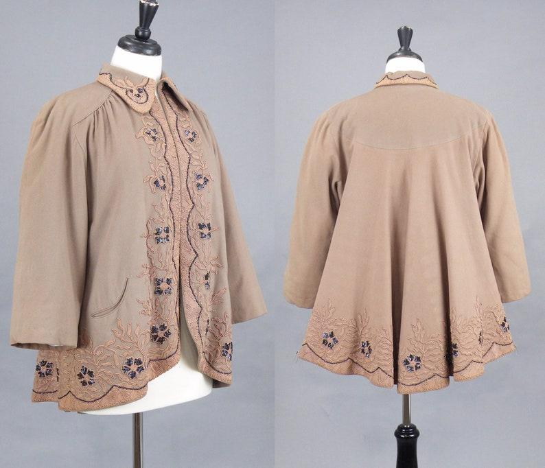 Vintage 1940s Beaded Soutache Wool Swing Jacket 40s Taupe image 0