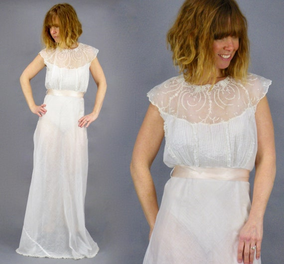 Vintage 1930s Sheer White Cotton Embroidered Organdy Bias Cut Dress, S/M - M