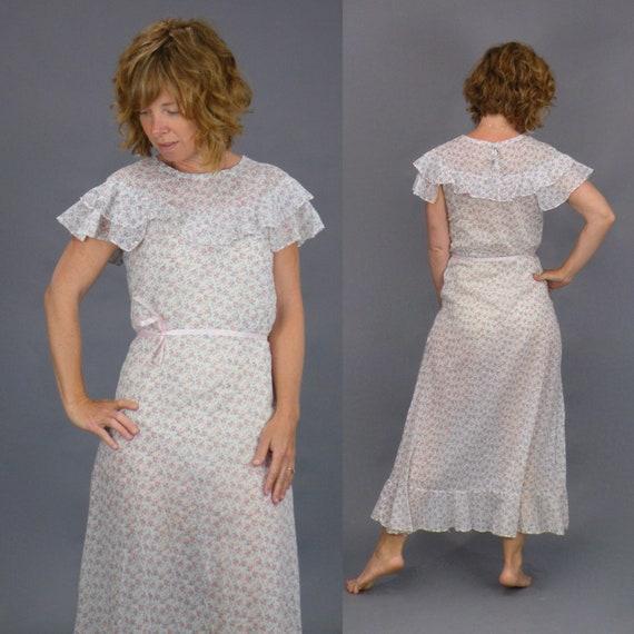 Vintage 1930s Cotton Floral Print Dress, 30s Flutter Dress, XS - Small