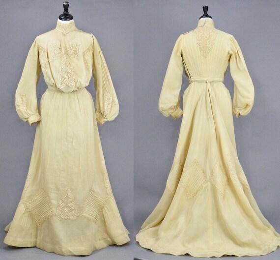 """Antique 1900s Dress, Edwardian Gibson Girl Dress, Turn of the Century Net Wedding Dress, Small 27"""" Waist"""