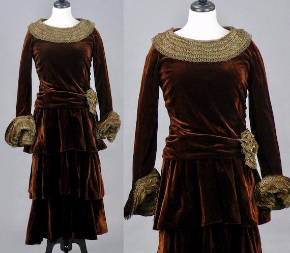 Vintage 1920s 30s Metallic Lace Trimmed Tiered Velvet Dress, Small - Medium