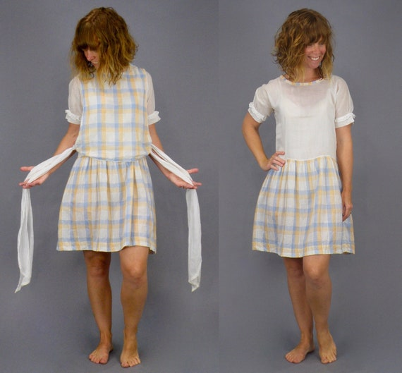 Vintage 1920s 2pc Cotton Plaid Dress and Apron Smock Top with Side Ties, XS - S