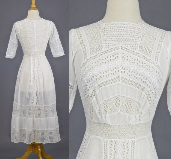 Edwardian Cotton Eyelet Dress, 1910s Tea Dress, Antique White Cotton Lace Dress, Bohemian Summer
