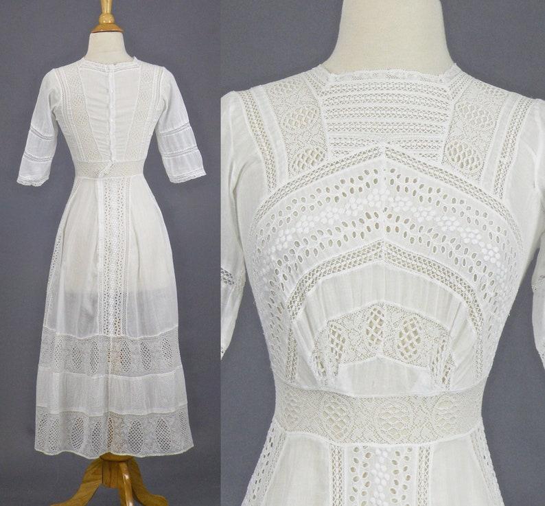 Edwardian Cotton Eyelet Dress 1910s Tea Dress Antique White image 0